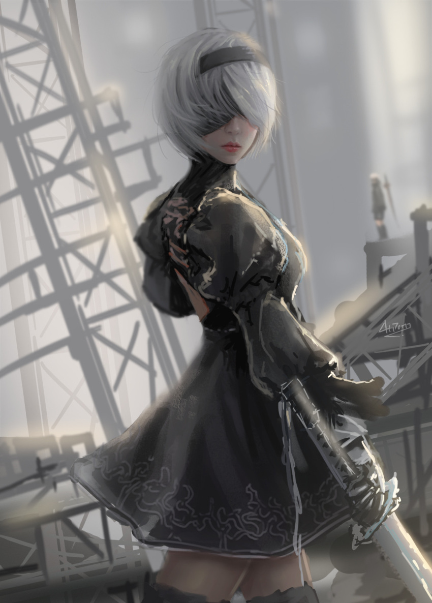 1girl artist_name at_pom back_cutout black_blindfold black_dress black_hairband black_legwarmer blindfold breasts closed_mouth covered_eyes dress facing_viewer feather-trimmed_sleeves grey_hair grey_sky hairband highres holding holding_sword holding_weapon juliet_sleeves katana lips long_sleeves looking_at_viewer medium_breasts nier_(series) nier_automata no_mole puffy_sleeves red_lips short_hair sketch solo sunlight sword thigh-highs turtleneck turtleneck_dress weapon yorha_no._2_type_b zettai_ryouiki