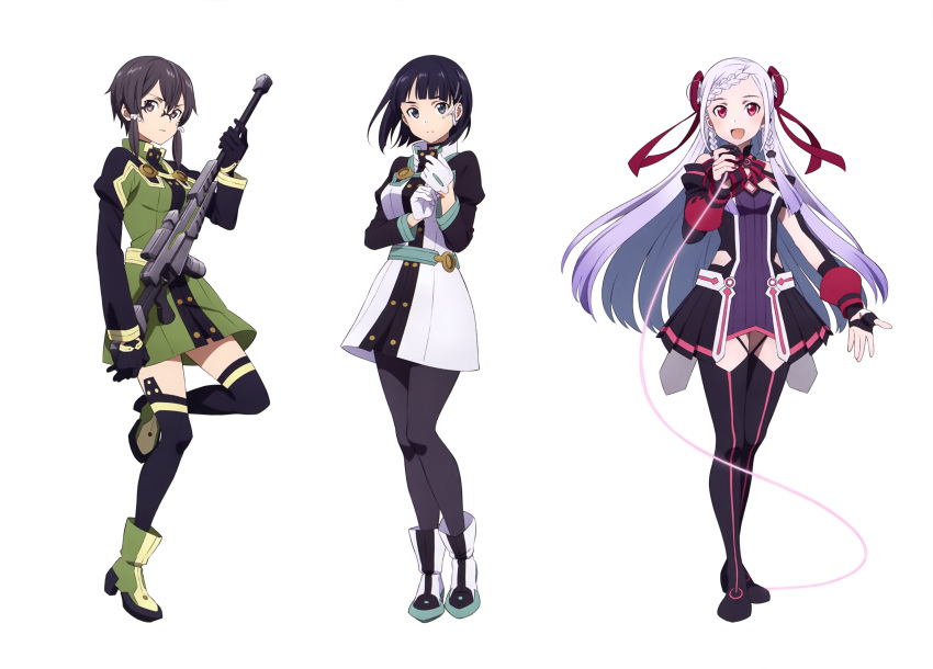 3girls :d absurdres black_eyes black_footwear black_gloves black_hair black_legwear black_shorts boots double_bun dress floating_hair full_body gloves green_dress gun hair_ribbon high_heel_boots high_heels highres holding holding_gun holding_microphone holding_weapon kirigaya_suguha looking_at_viewer microphone multiple_girls nail_polish one_leg_raised open_mouth pantyhose purple_dress red_eyes red_nails red_ribbon ribbon rifle shinon_(sao) shinon_(sao:hf) short_dress short_hair short_hair_with_long_locks shorts sidelocks silver_hair simple_background smile sniper_rifle standing standing_on_one_leg sword_art_online thigh-highs thigh_boots violet_eyes weapon white_background white_ribbon yuna_(sao)