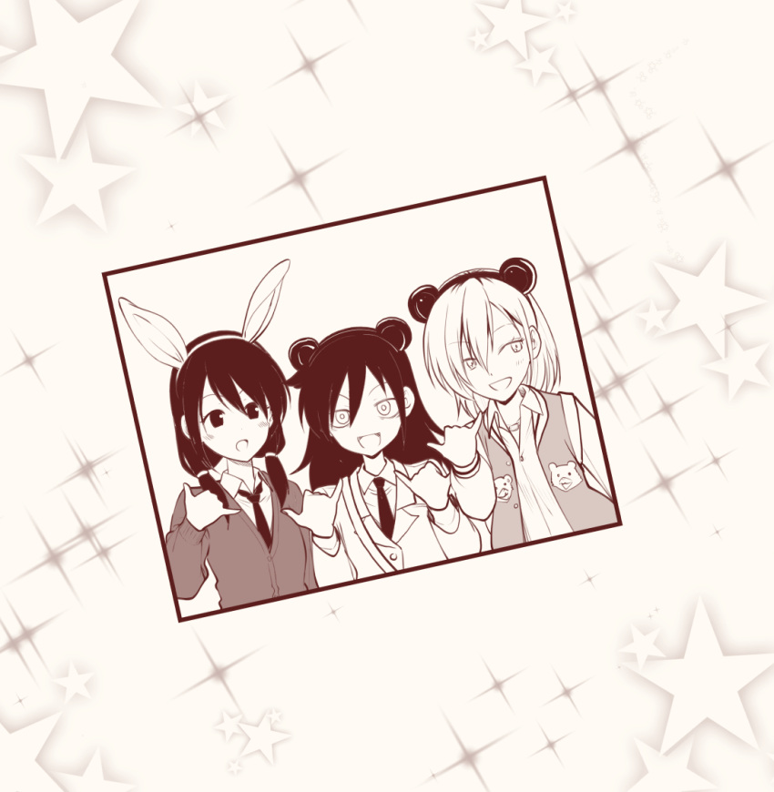 3girls :d animal_ears bags_under_eyes blazer blush cardigan commentary_request fake_animal_ears girl_sandwich hairband jacket kuroki_tomoko letterman_jacket monochrome mouse_ears multiple_girls necktie open_mouth picture_(object) pose rabbit_ears sandwiched satou_yuuki smile sparkle_background star starry_background tamura_yuri watashi_ga_motenai_no_wa_dou_kangaetemo_omaera_ga_warui! yoshida_masaki