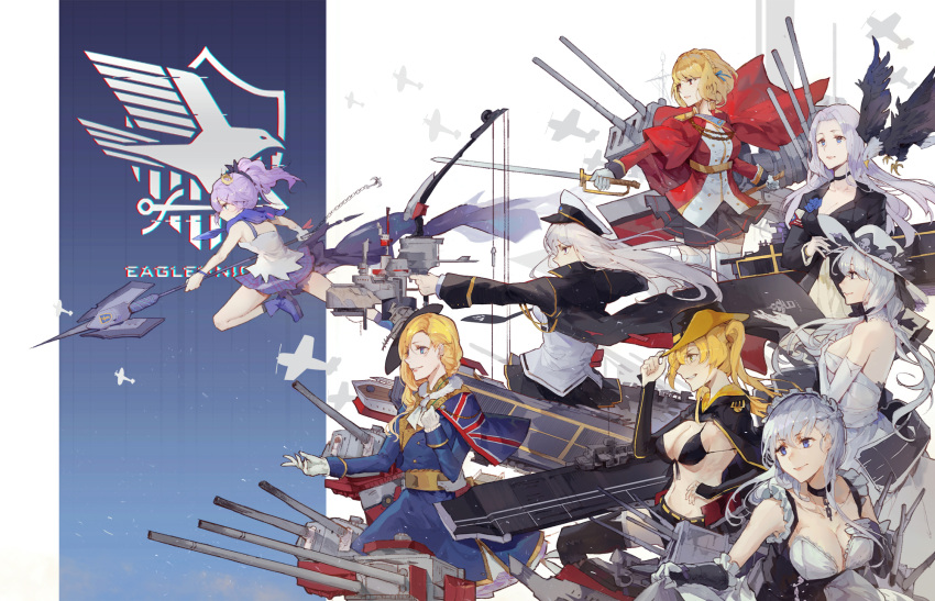 6+girls aiming azur_lane bangs bare_shoulders belfast_(azur_lane) bikini_top black_bikini_top black_choker black_jacket blonde_hair blue_eyes blue_hair blue_jacket bow_(weapon) braid breasts cannon cape chains character_request choker cleavage closed_mouth collar commentary_request cowboy_shot elbow_gloves eyebrows_visible_through_hair flight_deck gloves grin hair_ornament hair_over_shoulder hat highres holding holding_sword holding_weapon illustrious_(azur_lane) jacket kuroduki_(pieat) lance large_breasts long_hair long_sleeves machinery maid metal_collar military military_uniform multiple_girls navel parted_lips polearm purple_hair sash shirt short_hair smile sun_hat sword uniform waist_cape weapon white_gloves white_shirt