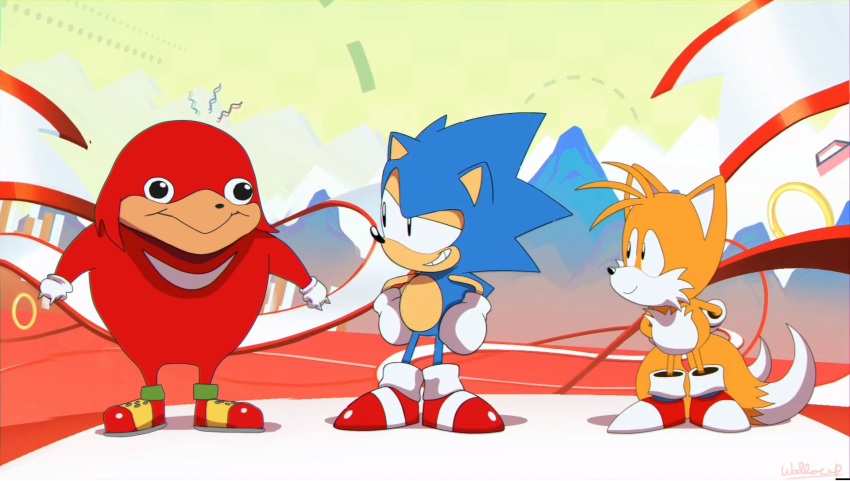 3boys black_eyes gloves grin highres knuckles_the_echidna male_focus meme multiple_boys shoes smile sneakers sonic sonic_mania sonic_the_hedgehog tails_(sonic) ugandan_knuckles wallace_pires white_gloves