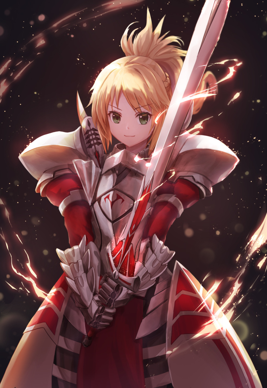1girl armor bangs black_background blonde_hair blurry braid breastplate clarent closed_mouth depth_of_field electricity eyebrows_visible_through_hair fate/apocrypha fate_(series) faulds fighting_stance floating_hair french_braid gauntlets glowing glowing_weapon green_eyes high_ponytail highres holding holding_sword holding_weapon juliet_sleeves light_particles long_hair long_sleeves looking_at_viewer lunacle mordred_(fate) mordred_(fate)_(all) pauldrons pelvic_curtain ponytail puffy_sleeves sidelocks smile solo standing sword two-handed v-shaped_eyebrows weapon