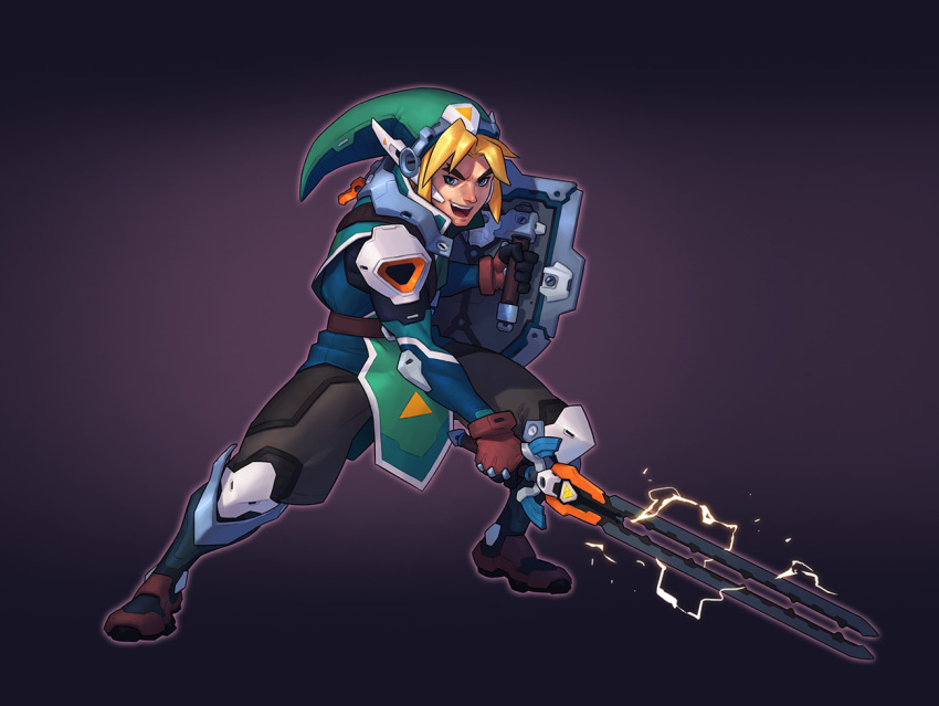 1boy blonde_hair blue_eyes commentary crossover electricity english_commentary fighting_stance full_body gloves gradient gradient_background jeremy_vitry link male_focus overwatch pelvic_curtain shield solo sword the_legend_of_zelda weapon