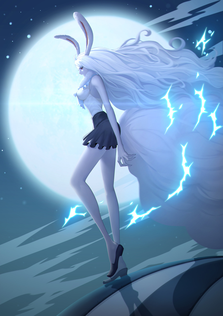 1girl alternate_form animal_ears black_skirt bunny_tail carrot_(one_piece) highres long_arms long_hair moon night night_sky one_piece pale_skin rabbit_ears silver_hair skirt sky solo spoilers standing tail very_long_hair zhang_ding