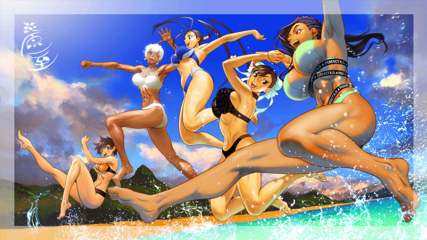 5girls abs antenna_hair artist_request asymmetrical_hair barefoot bikini black_hair blue_eyes blue_sky breasts brown_hair bun_cover capcom chun-li cornrows dark_skin day double_bun earrings elena_(street_fighter) highres hoop_earrings ibuki_(street_fighter) jewelry jumping kasugano_sakura large_breasts laura_matsuda long_hair long_legs medium_breasts multiple_girls ocean official_art one_eye_closed short_hair sideboob sky splashing stomach street_fighter street_fighter_v swimsuit tankini toes toned undercut very_dark_skin very_long_hair white_hair