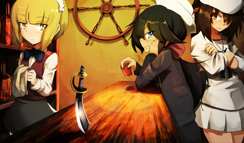 3girls bangs bar black_eyes black_hair black_jacket black_neckwear blonde_hair blouse bottle bow bowtie brown_eyes brown_hair brown_vest chin_rest closed_mouth commentary crossed_arms cup cutlass cutlass_(girls_und_panzer) dark_skin dixie_cup_hat dress_shirt drinking_glass eyebrows_visible_through_hair feathers from_side frown girls_und_panzer glaring hair_over_one_eye hair_ribbon hat highres holding jacket jinguu_(4839ms) liquor long_hair long_sleeves looking_at_viewer looking_to_the_side military_hat miniskirt multiple_girls murakami_(girls_und_panzer) napkin neckerchief ogin_(girls_und_panzer) ooarai_naval_school_uniform pleated_skirt ponytail red_ribbon ribbon sailor sailor_collar school_uniform shirt short_hair shot_glass sitting skirt sleeves_rolled_up smile standing white_blouse white_hat white_shirt white_skirt wing_collar yellow_eyes