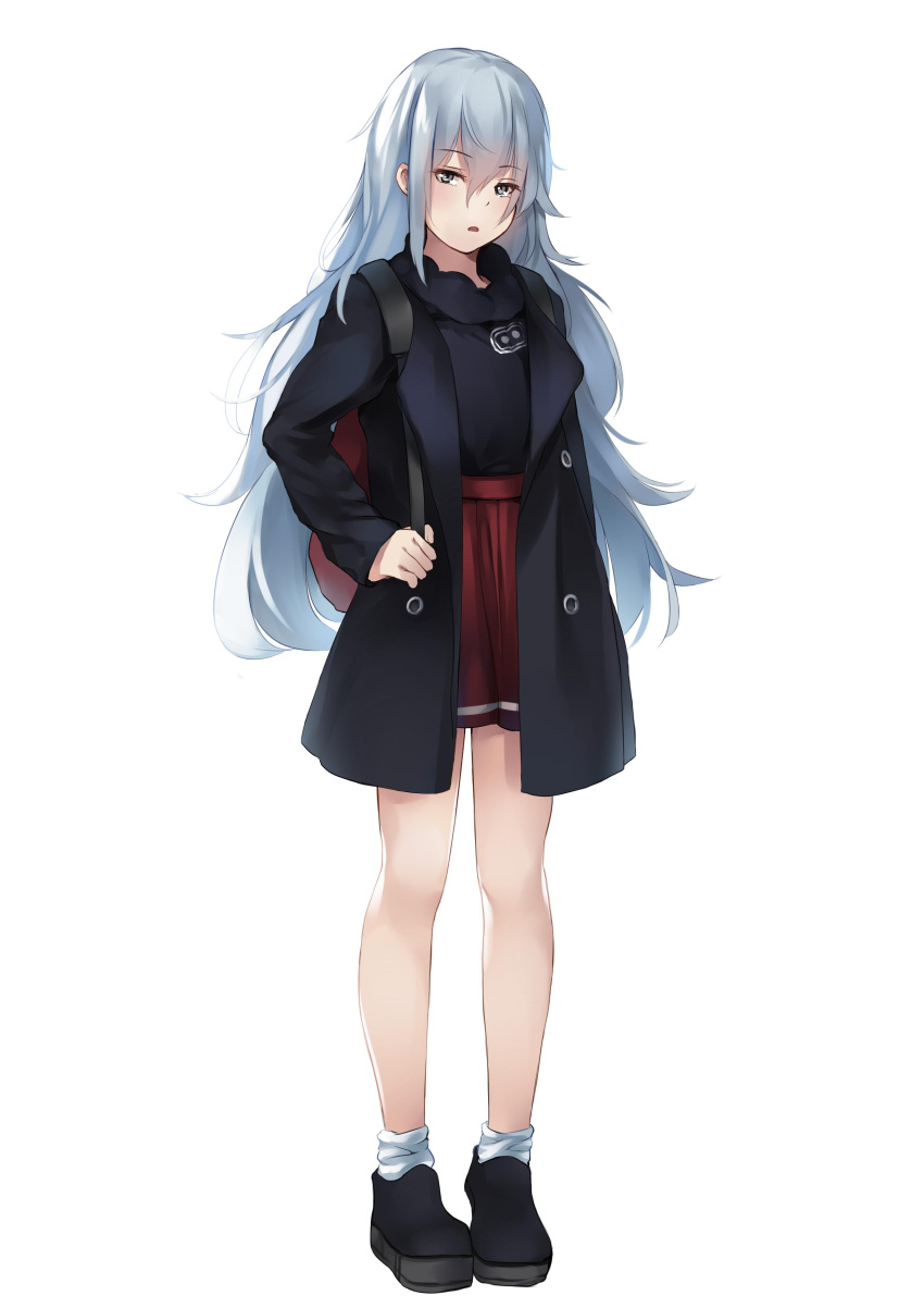 1girl absurdres alternate_costume arm_at_side backpack bag bangs black_coat black_footwear black_shirt blush breasts brown_eyes coat eyebrows_visible_through_hair eyes_visible_through_hair full_body g11_(girls_frontline) girls_frontline hair_between_eyes hair_over_shoulder half-closed_eyes high-waist_skirt highres holding_strap ina_(inadiary) long_hair looking_at_viewer messy_hair open_clothes open_coat open_mouth red_skirt scarf shirt silver_hair simple_background skirt socks solo standing tareme very_long_hair white_background white_legwear