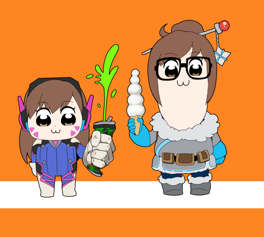 2girls :3 absurdres belt black-framed_eyewear blue_gloves bodysuit boots brown_eyes brown_hair closed_mouth coat commentary d.va_(gremlin) d.va_(overwatch) eyebrows_visible_through_hair facial_mark fur_trim glasses gloves grey_footwear hair_bun hair_ornament hairpin headphones highres holding ice_cream_cone kion-kun long_sleeves looking_at_viewer mei_(overwatch) monster_energy multiple_girls orange_background overwatch poptepipic pouch simple_background veins white_gloves winter_clothes winter_coat