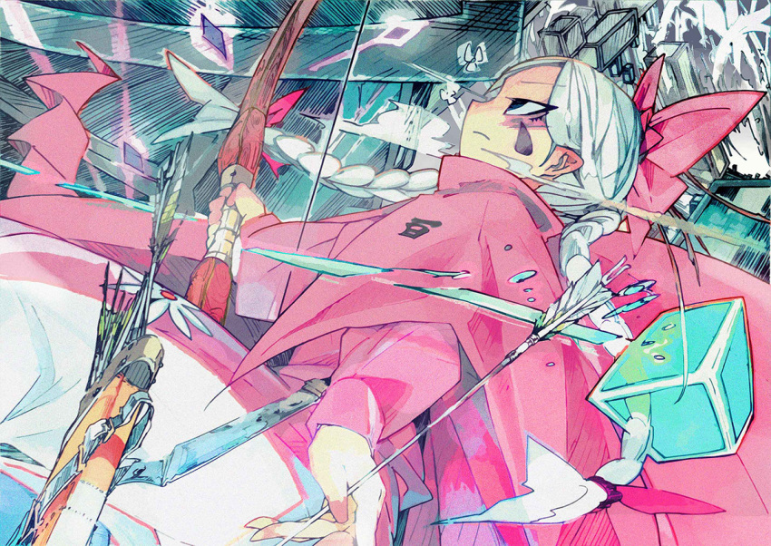 1girl arrow blue_eyes bow bow_(weapon) braid cape closed_mouth cube dutch_angle eyebrows eyebrows_visible_through_hair facial_mark flower frown hair_bow holding holding_arrow holding_bow_(weapon) holding_weapon long_hair long_sleeves marker_(medium) pants pink_bow pink_cape pink_pants pink_shirt pointy_ears quiver shirt shooting_flower sideways_mouth solo specialist_(shooting_flower) suraba teardrop traditional_media tsurime twin_braids weapon white_hair