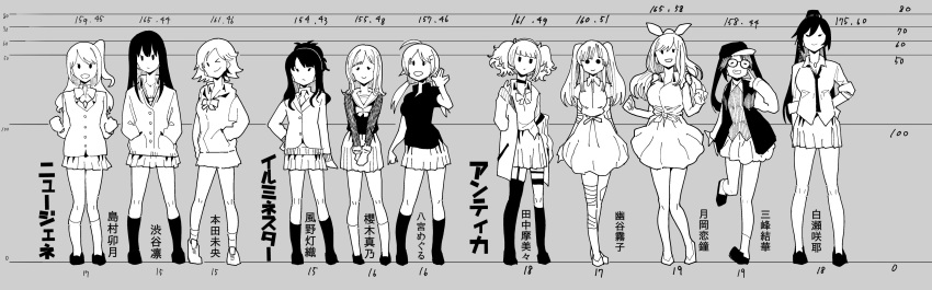 6+girls absurdres garter_belt garter_straps glasses hachimiya_meguru height_chart highres honda_mio idolmaster idolmaster_cinderella_girls idolmaster_shiny_colors jacket kazano_hiori miniskirt mitsumine_yuika monochrome multiple_girls necktie niku-name one_eye_closed sakuragi_mano school_uniform shibuya_rin shimamura_uzuki shirase_sakuya shoes skirt socks tanaka_mamimi tsukioka_kogane v yuukoku_kiriko