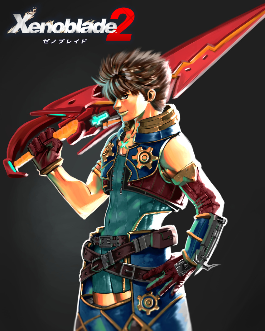 1boy absurdres artist_request blade bodysuit breasts brown_hair crotchless_pants fingerless_gloves gloves highres large_breasts male_focus nintendo rex_(xenoblade_2) short_hair simple_background smile solo switch sword weapon xenoblade xenoblade_2