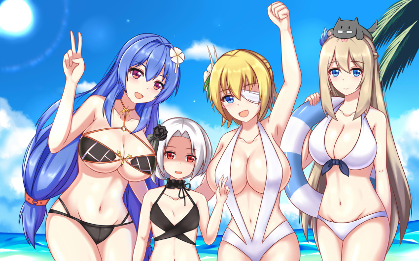 4girls animal animal_on_head arm_up armpits bikini black_bikini black_choker black_flower blonde_hair blue_eyes blue_hair blush breast_envy breasts choker clenched_hand collarbone day eyebrows_visible_through_hair eyepatch flower group_picture hair_flower hair_intakes hair_ornament height_difference helena_(zhan_jian_shao_nyu) highres huge_breasts innertube large_breasts leaning_to_the_side lexington_(zhan_jian_shao_nyu) long_hair looking_at_viewer low_twintails multiple_girls navel o-ring_bikini ocean on_head open_mouth outdoors platinum_blonde pose prince_of_wales_(zhan_jian_shao_nyu) red_eyes shaded_face short_hair slingshot_swimsuit small_breasts smile swimsuit twintails v very_long_hair vittorio_veneto_(zhan_jian_shao_nyu) white_bikini white_flower white_hair xiao_qi zhan_jian_shao_nyu