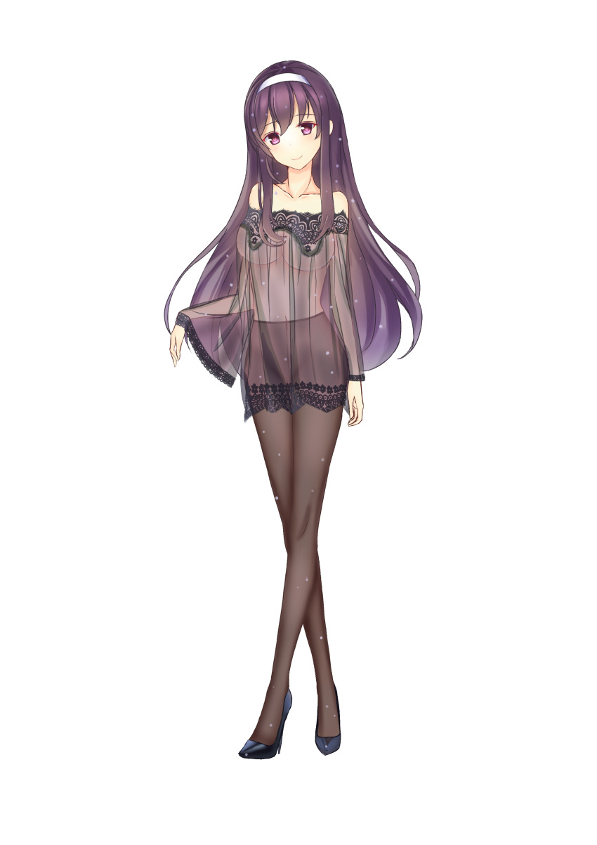 1girl absurdres arm_at_side bare_shoulders black_footwear black_hair black_legwear covered_navel full_body hairband high_heels highres kasumigaoka_utaha long_hair pantyhose saenai_heroine_no_sodatekata see-through shinkou_no_shiba smile standing very_long_hair violet_eyes