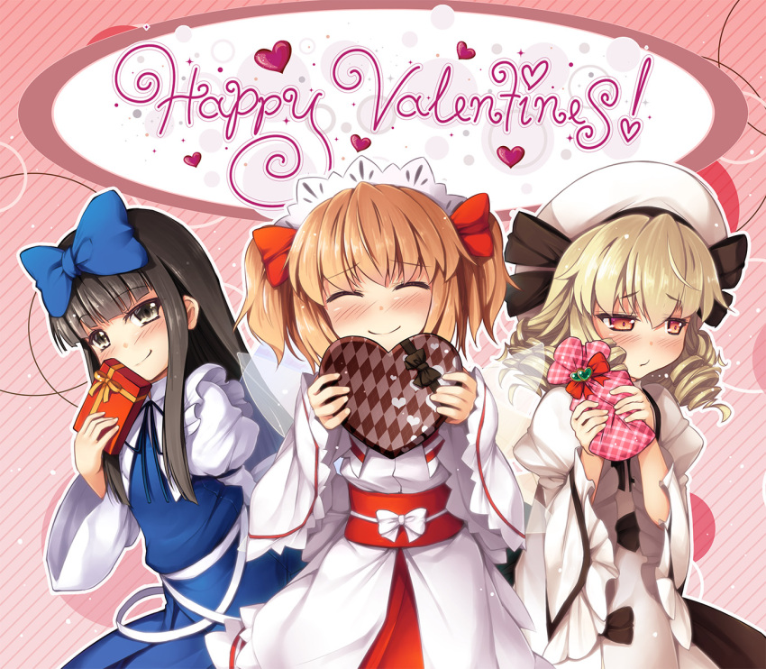 3girls black_bow black_hair blonde_hair blue_bow blush bow chima_q commentary_request cowboy_shot dress drill_hair embarrassed fairy_wings gift grey_eyes hair_bow happy_valentine hat heart highres hime_cut holding holding_gift juliet_sleeves long_hair long_sleeves looking_at_viewer luna_child multiple_girls orange_hair presenting puffy_sleeves red_sash redhead sash star_sapphire sunny_milk take_your_pick touhou two_side_up valentine white_bow wings