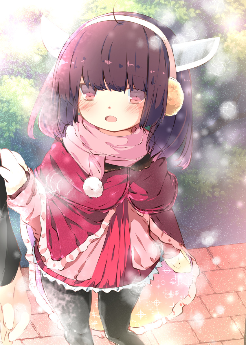 1girl absurdres blush brown_hair earmuffs gloves highres pantyhose pink_eyes scarf sleeve_tug tabuchi_(tabuchisanchi) touhoku_kiritan voiceroid