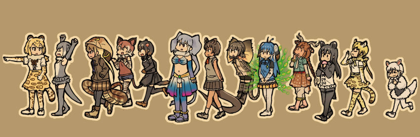 >_< 6+girls animal_ears anteater_ears anteater_tail antlers apron axis_deer_(kemono_friends) bare_shoulders belt black_clothes black_legwear black_skirt boots bow bowtie bracelet braid capri_pants cheetah_(kemono_friends) cheetah_ears cheetah_print cheetah_tail closed_eyes deer_ears deer_tail eating elephant_ears elephant_tail fingerless_gloves food fossa_(kemono_friends) fossa_ears fossa_tail frilled_lizard_(kemono_friends) fur_collar gloves hand_on_own_chin hand_up hands_in_pockets hands_on_own_chest hands_together highres hood hoodie indian_elephant_(kemono_friends) jaguar_(kemono_friends) jaguar_ears jaguar_tail japari_bun jewelry kemono_friends king_cobra_(kemono_friends) lineup lizard_tail long_sleeves malayan_tapir_(kemono_friends) midriff multicolored multicolored_clothes multicolored_hair multicolored_skirt multiple_girls necktie okapi_(kemono_friends) okapi_ears okapi_tail one-piece_swimsuit open_mouth otter_ears otter_tail ouka_(yama) pants peacock_feathers peafowl_(kemono_friends) pointing running sandals shorts simple_background skirt small-clawed_otter_(kemono_friends) snake_tail socks southern_tamandua_(kemono_friends) swimsuit tail tapir_ears tapir_tail tasmanian_devil_(kemono_friends) tasmanian_devil_ears tasmanian_devil_tail thigh-highs toeless_legwear tusks vest vest_over_shirt walking yawning