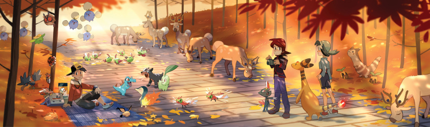1girl 2boys absurdres alexandra_nyerges ampharos autumn autumn_leaves backpack bag blanket camera chikorita claws crystal_(pokemon) cyndaquil fangs furret gold_(pokemon) hat highres hoothoot houndour jumpluff leaf ledyba multiple_boys murkrow natu nature pichu pokemon pokemon_(game) pokemon_gsc road scenery silver_(pokemon) sitting skiploom smile sneasel stantler sunkern sunlight totodile tree twintails yanmega
