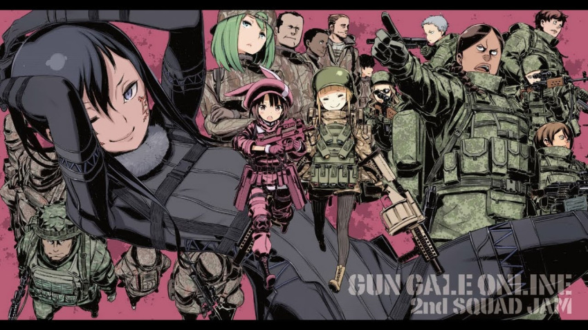 facial_tatoo kuroboshi_kouhaku llenn_(sao) long_hair military military_uniform short_hair skin_tight sword_art_online sword_art_online_alternative:_gun_gale_online uniform weapon