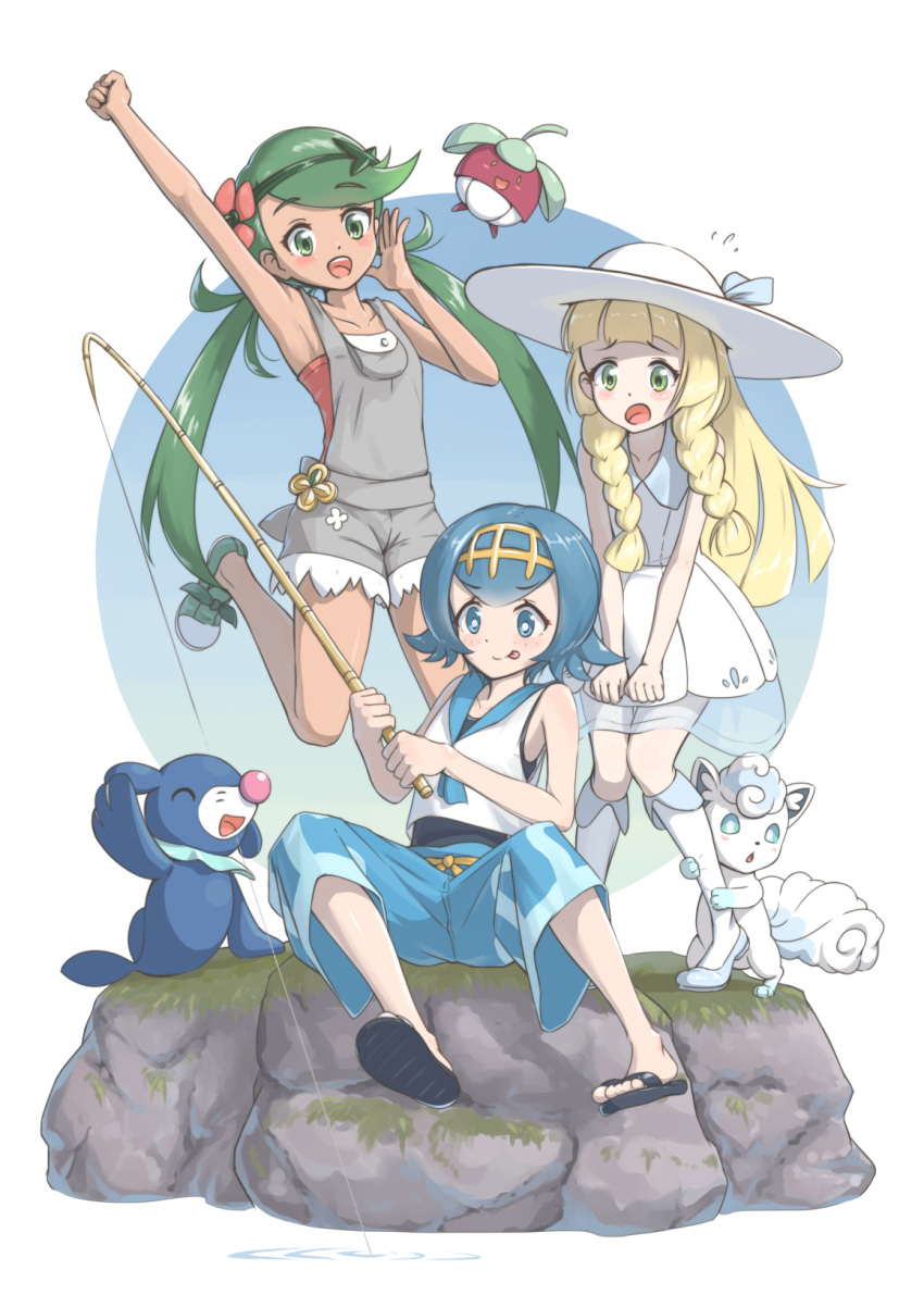 3girls :d :o :q akatsuki_no_akatsuki alola_form alolan_vulpix arm_up bangs bare_shoulders blonde_hair blue_eyes blue_hair blue_sailor_collar blush bounsweet braid capri_pants dress fishing fishing_rod flower flying_sweatdrops green_eyes green_hair hair_flower hair_ornament hairband hat highres jumping leaning_forward lillie_(pokemon) long_hair mao_(pokemon) multiple_girls open_mouth overalls pants pokemon pokemon_(creature) pokemon_(game) pokemon_sm rock sailor_collar sitting sleeveless slippers smile standing suiren_(pokemon) sun_hat swept_bangs swimsuit swimsuit_under_clothes tongue tongue_out twin_braids vulpix white_dress white_hat