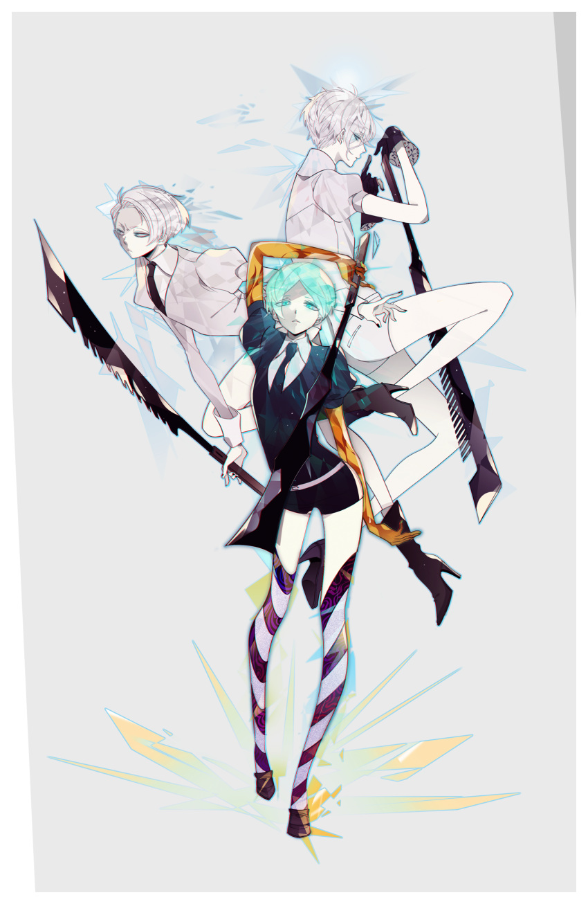 androgynous antarcticite bangs black_gloves black_legwear black_nails black_neckwear black_shorts blue_eyes boots cairngorm_(houseki_no_kuni) floral_print full_body gem_uniform_(houseki_no_kuni) gloves golden_arms green_eyes green_hair green_nails grey_background grey_hair grey_shirt grey_shorts high_heel_boots high_heels highres holding holding_sword holding_weapon houseki_no_kuni ivxxx knees_up legs looking_at_another looking_at_viewer looking_to_the_side multiple_swords nail_polish necktie phosphophyllite puffy_short_sleeves puffy_sleeves shiny shiny_hair shirt shoes short_hair short_sleeves shorts simple_background spoilers sword trio walking weapon white_gloves white_skin