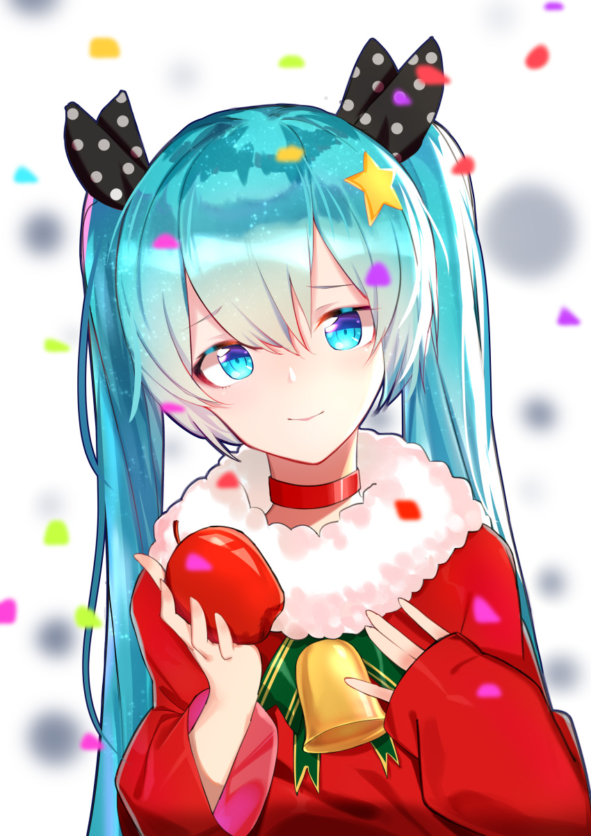 1girl absurdres apple bell black_ribbon blue_eyes blue_hair food fruit hair_between_eyes hair_ribbon hatsune_miku head_tilt highres holding holding_fruit long_hair looking_at_viewer polka_dot_ribbon qingli_green red_sweater ribbon smile solo twintails upper_body very_long_hair vocaloid
