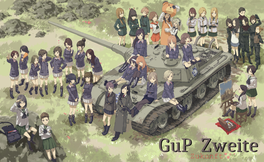1girl :d absurdres ahoge ascot bag bangs black_footwear black_gloves black_neckwear blonde_hair blue_jacket blue_skirt blunt_bangs blush boots brown_footwear brown_hair brush character_request closed_eyes closed_mouth contrapposto costume day everyone eyebrows_visible_through_hair girls_und_panzer glasses gloves grass green_jacket green_pants green_skirt ground_vehicle hair_bun hairband hand_on_hip hands_up highres holding indian_style jacket legs_crossed long_hair long_sleeves looking_at_another looking_at_viewer looking_up military military_vehicle motor_vehicle open_mouth outdoors painting painting_(object) palette pants parted_lips pleated_skirt ponytail purple_hair red_sailor_collar red_skirt sailor_collar salute school_uniform serafuku shirt shoes short_hair silver_hair sitting skirt smile standing stool suitcase tank v vest white_sailor_collar white_shirt zennosuke