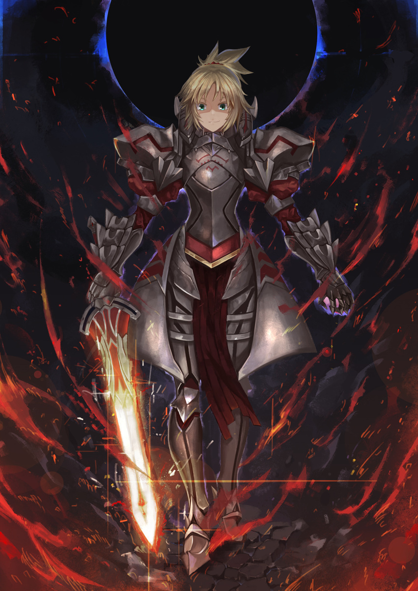 1girl armor armored_boots blonde_hair boots fate/apocrypha fate_(series) fire gauntlets green_eyes hair_ornament hair_scrunchie highres holding holding_sword holding_weapon long_hair memekun mordred_(fate) mordred_(fate)_(all) red_scrunchie scrunchie smile solo sword weapon
