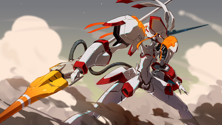 darling_in_the_franxx dust fighting_stance highres humanoid_robot mecha polearm solo standing strelizia tuzki weapon