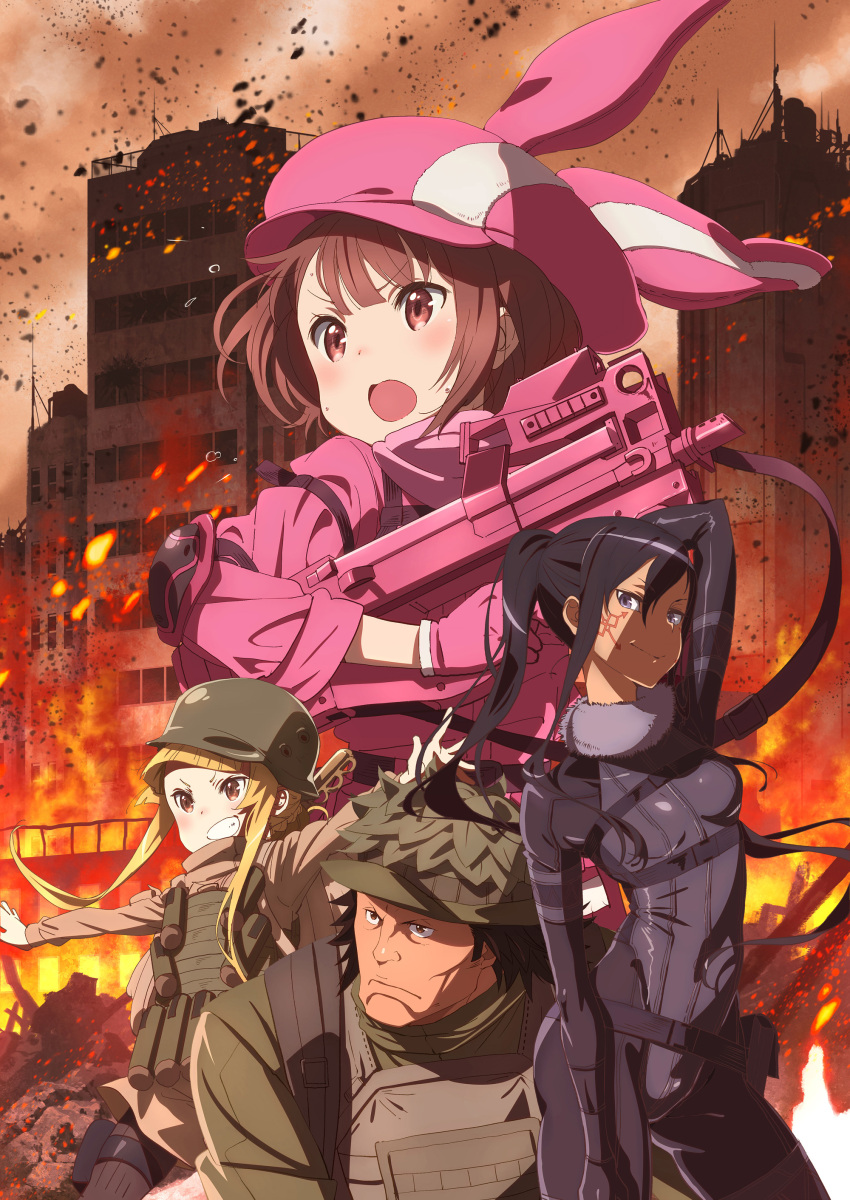 1boy 3girls absurdres animal_ears black_hair blonde_hair blue_hair bodysuit building facial_tatoo fake_animal_ears fire gun hat helmet highres key_visual llenn_(sao) long_hair military military_uniform multiple_girls official_art pink_eyes ponytail rabbit_ears short_hair submachine_gun sword_art_online sword_art_online_alternative:_gun_gale_online uniform weapon