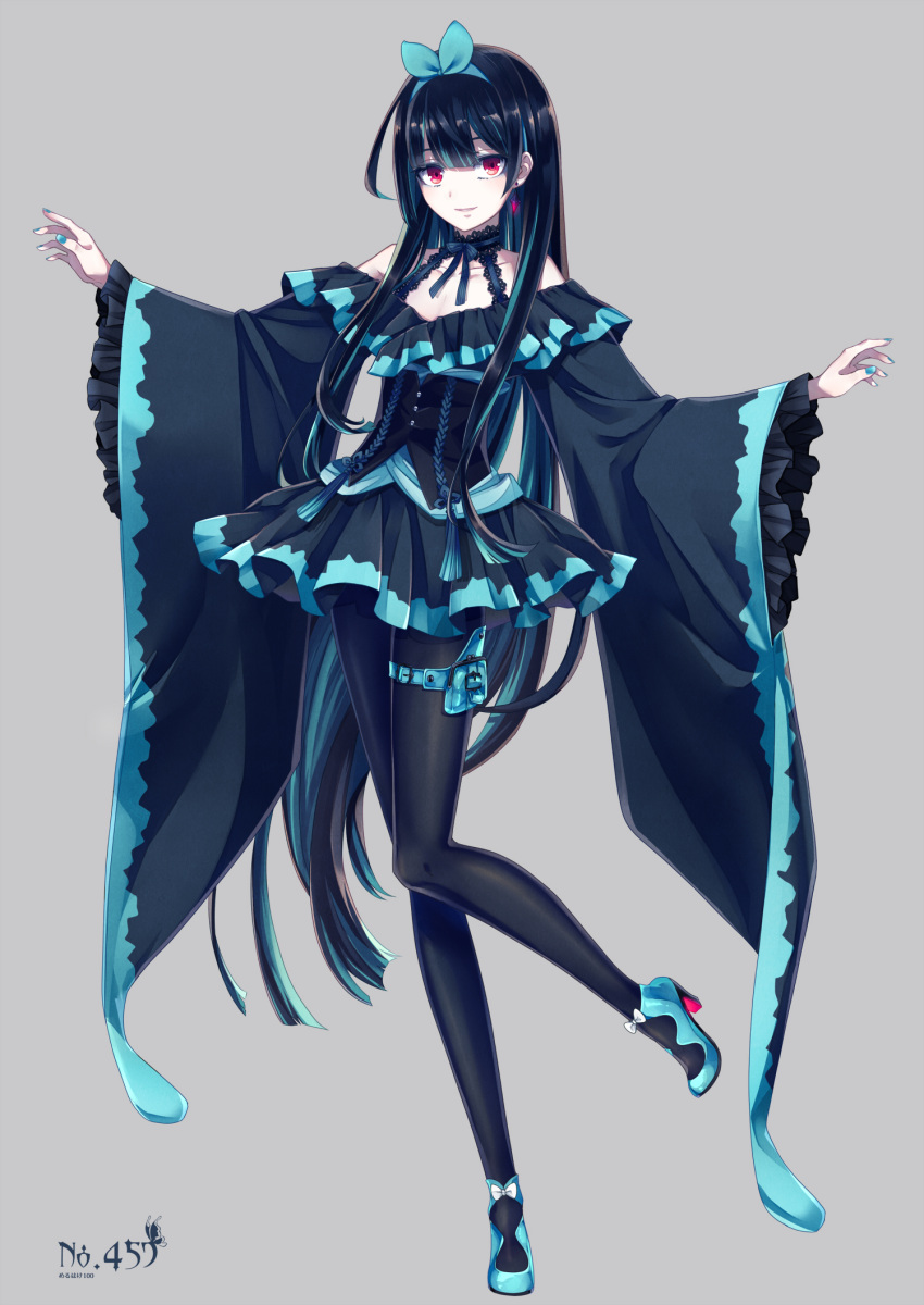 absurdly_long_sleeves black_hair blue_nails choker commentary_request corset dress earrings frilled_shirt_collar frilled_skirt frilled_sleeves frills grey_background hairband high_heels highres hime_cut jewelry leggings long_hair lumineon merlusa multicolored_hair nail_polish personification pokemon red_eyes skirt sleeves_past_elbows smile streaked_hair thigh_pouch very_long_hair