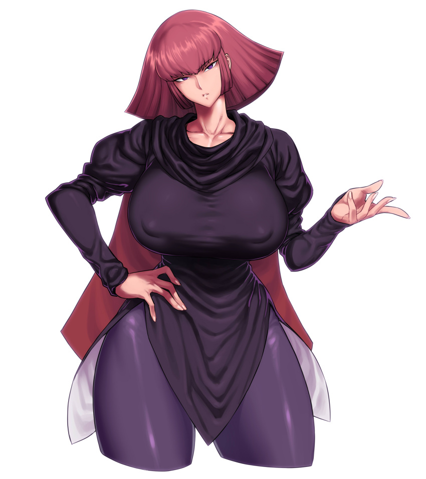 1girl absurdres bangs breasts cape collarbone cropped_legs erect_nipples eyebrows_visible_through_hair gundam gundam_zz haman_karn hand_on_hip head_tilt highres huge_breasts looking_at_viewer medium_hair pantyhose redhead short_hair sidelocks solo space_jin thick_thighs thighs violet_eyes zeta_gundam