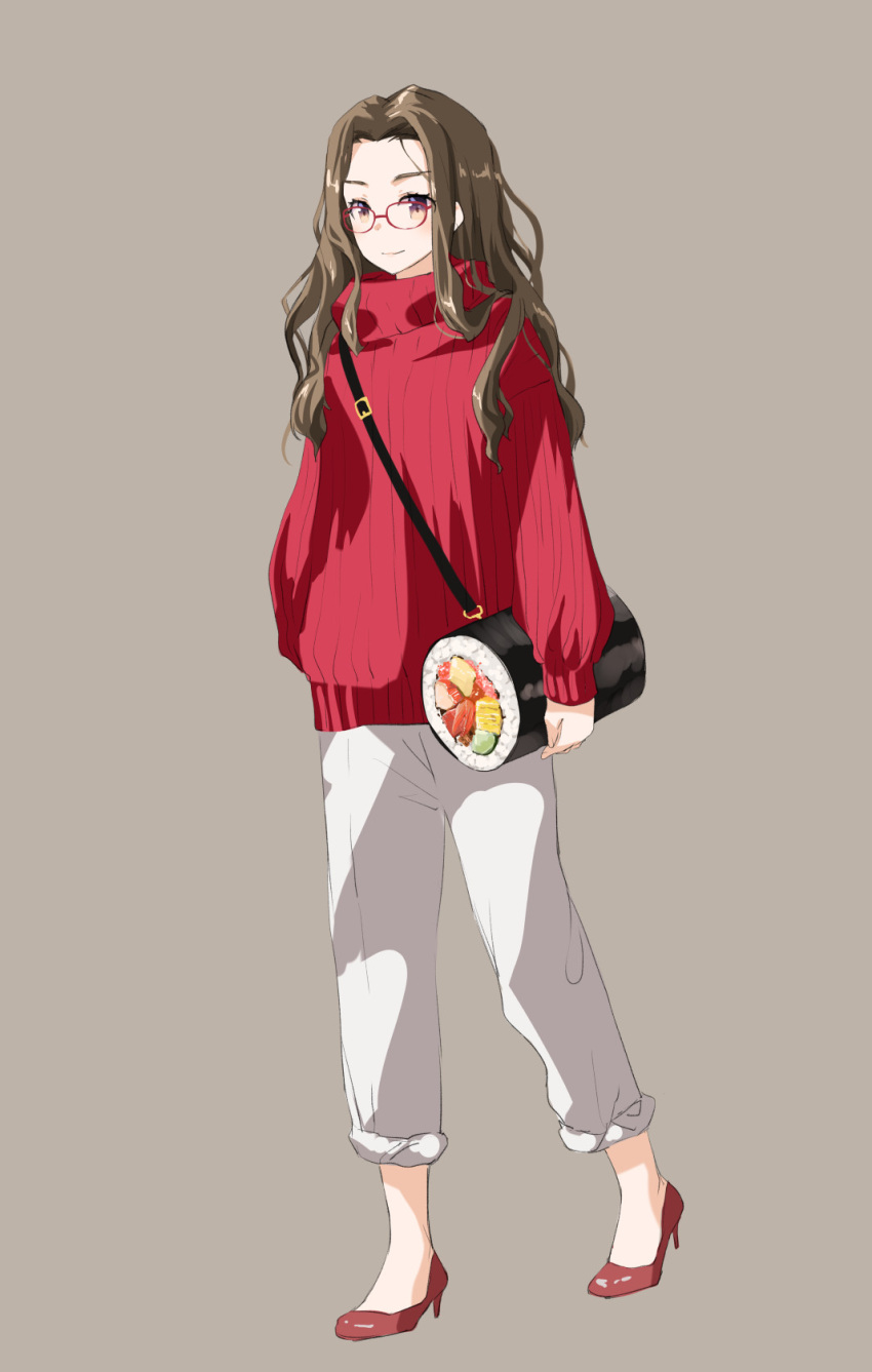 1girl arms_at_sides bag blush brown_background brown_hair buckle casual closed_mouth food food_themed_bag forehead full_body glasses high_heels highres long_hair long_sleeves looking_at_viewer makizushi naruse_chisato original pants pants_rolled_up red-framed_eyewear red_footwear red_sweater shoulder_bag simple_background sleeves_past_wrists smile solo sushi sweater tareme turtleneck turtleneck_sweater violet_eyes walking wavy_hair white_pants