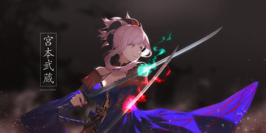 1girl artist_name bagus_casbon bare_shoulders blue_fire blue_kimono breasts cleavage closed_mouth dark_background dual_wielding earrings fate/grand_order fate_(series) fighting_stance fire flame highres holding holding_sword holding_weapon japanese_clothes jewelry katana kimono light_particles long_sleeves looking_to_the_side magatama medium_breasts miyamoto_musashi_(fate/grand_order) pink_eyes pink_fire pink_hair ponytail sheath short_hair_with_long_locks sidelocks smile solo sword sword_behind_back translation_request unsheathed upper_body weapon weapon_on_back wide_sleeves