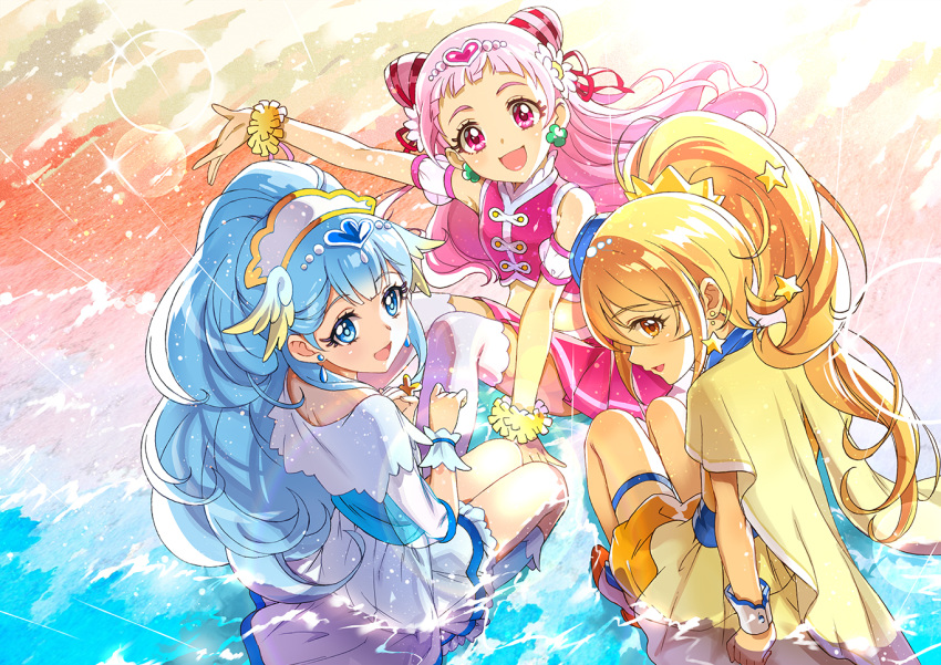 3girls :d arm_up beach blonde_hair blue_eyes blue_hair brown_eyes commentary_request cure_ange cure_etoile cure_yell earjob earrings hoshi_(xingspresent) hugtto!_precure jewelry kagayaki_homare looking_at_viewer looking_back magical_girl midriff multiple_girls nono_hana open_mouth pink_eyes pink_hair precure sitting smile star star_earrings water wrist_cuffs yakushiji_saaya