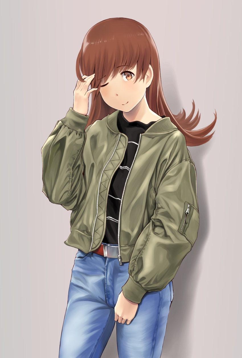 1girl ;) alternate_costume belt black_shirt blue_pants blush brown_eyes brown_hair casual closed_mouth denim eyebrows_visible_through_hair green_jacket grey_background hand_up highres jacket jeans kantai_collection long_hair long_sleeves looking_at_viewer one_eye_closed ooi_(kantai_collection) open_clothes open_jacket pants pocket puffy_long_sleeves puffy_sleeves shiny shiny_hair shirt simple_background smile solo striped striped_shirt tareme unzipped wa_(genryusui) zipper