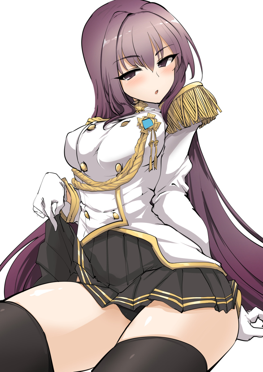1girl :o aiguillette black_panties breasts buttons covered_nipples epaulettes fate/extella_link fate/grand_order fate_(series) gloves hair_intakes highres jacket large_breasts long_hair military_jacket momio panties pantyshot pleated_skirt purple_hair scathach_(fate/grand_order) skirt skirt_lift thigh-highs underwear white_background white_gloves