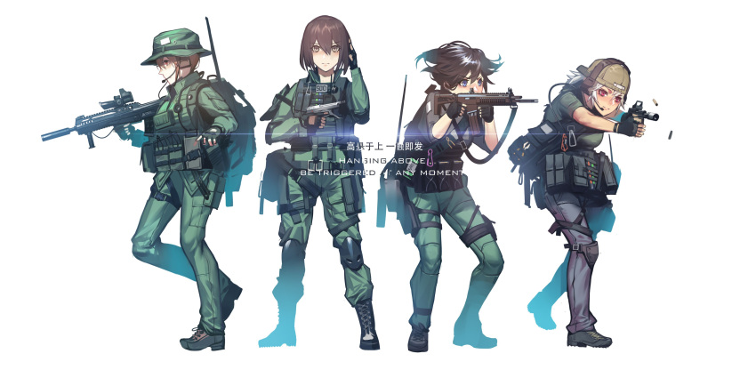 4girls absurdres aiming assault_rifle backpack backwards_hat bag baseball_cap beretta_93r black_soldier blue_eyes boonie_hat boots brown_hair carabiner casing_ejection commentary_request english eotech field_radio fingerless_gloves firing glasses gloves gun handgun hat headset highres knee_pads load_bearing_vest military military_operator military_uniform multiple_girls original patch pistol ponytail red_eyes reflex_sight remington_acr rifle shell_casing short_hair silver_hair simple_background snap-fit_buckle suppressor translation_request trigger_discipline uniform vertical_foregrip weapon weapon_request white_background