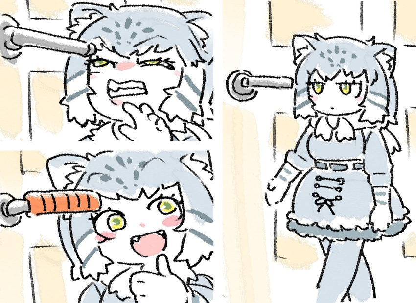 1girl :d animal_ears blush_stickers cat_ears clenched_teeth door door_handle fang grey_hair kemono_friends multiple_views nowar1112 open_mouth pallas's_cat_(kemono_friends) parody photo-referenced sketch smile teeth thumbs_up walking yellow_eyes