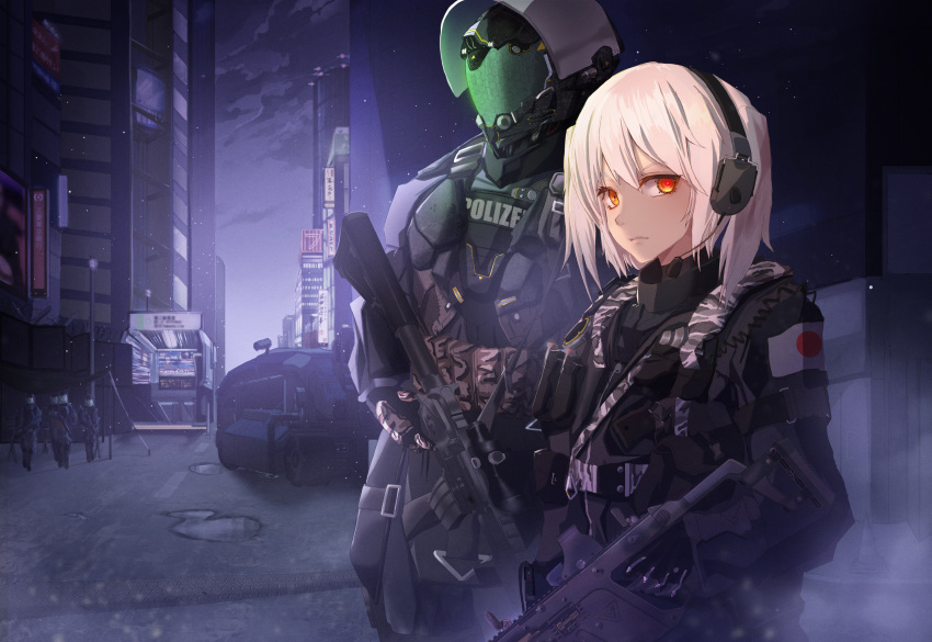 1boy 1girl absurdres assault_rifle body_armor camouflage cyberpunk cyborg earphones finger_on_trigger gloves gun highres lamppost looking_at_viewer microphone neon_lights original panamuru police red_eyes rifle serious weapon white_hair