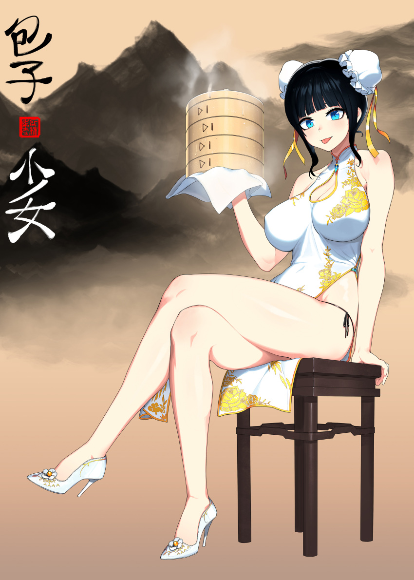 1girl :p absurdres bangs bare_arms bare_shoulders black_hair black_panties black_ribbon blue_eyes blunt_bangs blush box breasts cain_(gunnermul) china_dress chinese_clothes cleavage cleavage_cutout cloth double_bun dress floral_print frills full_body high_heels highres holding holding_box large_breasts legs_crossed looking_at_viewer mountain original panties pelvic_curtain print_dress ribbon rose_print shiny shiny_skin short_hair side-tie_panties sidelocks sitting smile solo steam stool thighs tongue tongue_out underwear water_drop white_dress white_footwear