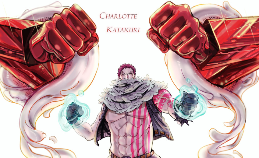 1boy abs arm_tattoo bare_chest black_hair blood blood_on_face bright_background character_name charlotte_katakuri chest clenched_hands covered_mouth fighting_stance gloves hands_up highres living_(pixiv5031111) looking_at_viewer male_focus no_shirt one_piece open_clothes open_vest scar scarf short_hair solo sparkle spikes standing stitches stomach_tattoo tattoo upper_body vest violet_eyes