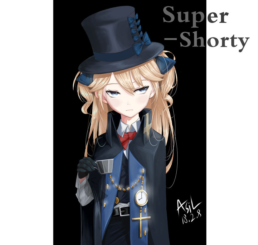1girl absurdres asil bangs belt belt_buckle black_gloves black_hat blonde_hair blue_bow blue_eyes blush bow bowtie buckle buttons chains character_name closed_mouth clouds collared_shirt cross crucifix cup dated formal girls_frontline gloves hair_between_eyes hair_bow hair_ribbon hands_together hat hat_bow head_tilt high_collar highres holding holding_cup long_hair long_sleeves looking_away open_clothes pocket_watch red_bow ribbon road shirt shorts sidelocks sign signature simple_background sleeve_cuffs solo street super_shorty_(girls_frontline) teacup top_hat tsurime two_side_up watch white_gloves white_shirt
