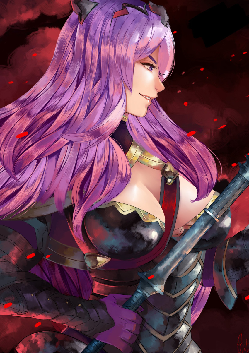1girl absurdres armor artist_request axe black_armor breasts camilla_(fire_emblem_if) fire_emblem fire_emblem_if hair_over_one_eye highres large_breasts lips long_hair purple_hair smile solo tiara very_long_hair violet_eyes wavy_hair