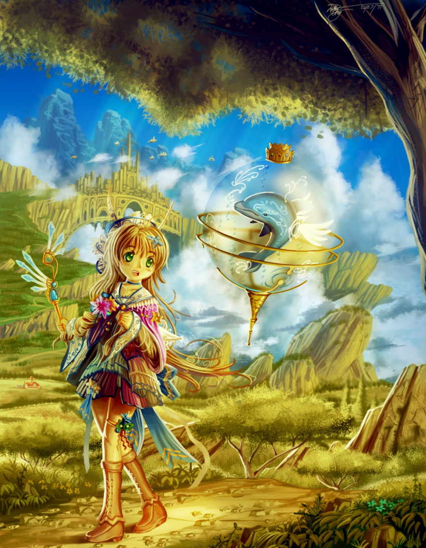 1girl ahoge blonde_hair blue_sky boots bridge castle cliff clouds cloudy_sky commentary cross-laced_footwear crown day detached_wings deviantartungdi-sea dolphin falling_leaves fantasy farm field floating floating_rock flower green_eyes hair_ornament happy highres holding holding_staff lace-up_boots long_hair long_sleeves looking_to_the_side mountain open_mouth original outdoors path road scarf scenery sky sphere staff tagme tree very_long_hair walking wind wings