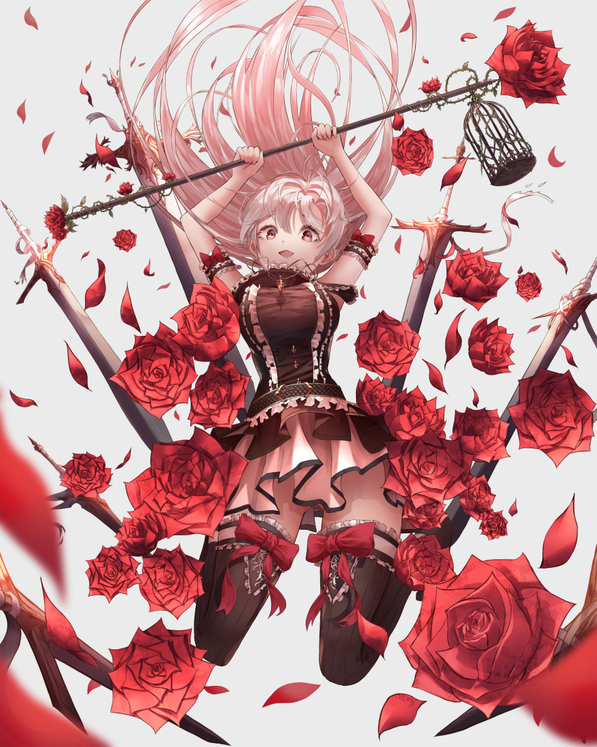 1girl absurdres armlet bent_knees black_legwear breasts cage flower from_below full_body highres holding jewelry jumping long_hair looking_at_viewer momingie original pendant pink_eyes pink_hair pleated_skirt rose skirt sleeveless sword thigh-highs weapon zettai_ryouiki