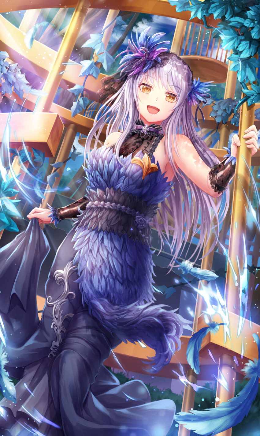 1girl :d armpits bang_dream! bangs bare_shoulders blue_dress blue_feathers blue_sky branch breasts clouds collar commentary_request dappled_sunlight dress eyebrows_visible_through_hair falling_feathers feathers fingernails hair_feathers halterneck highres holding lace_trim lavender_hair leaf light_particles light_rays lipstick long_dress long_hair looking_at_viewer lunacle makeup medium_breasts minato_yukina open_mouth pink_lipstick purple_collar purple_feathers sash skirt_hold sky sleeveless sleeveless_dress smile solo standing sunlight yellow_eyes