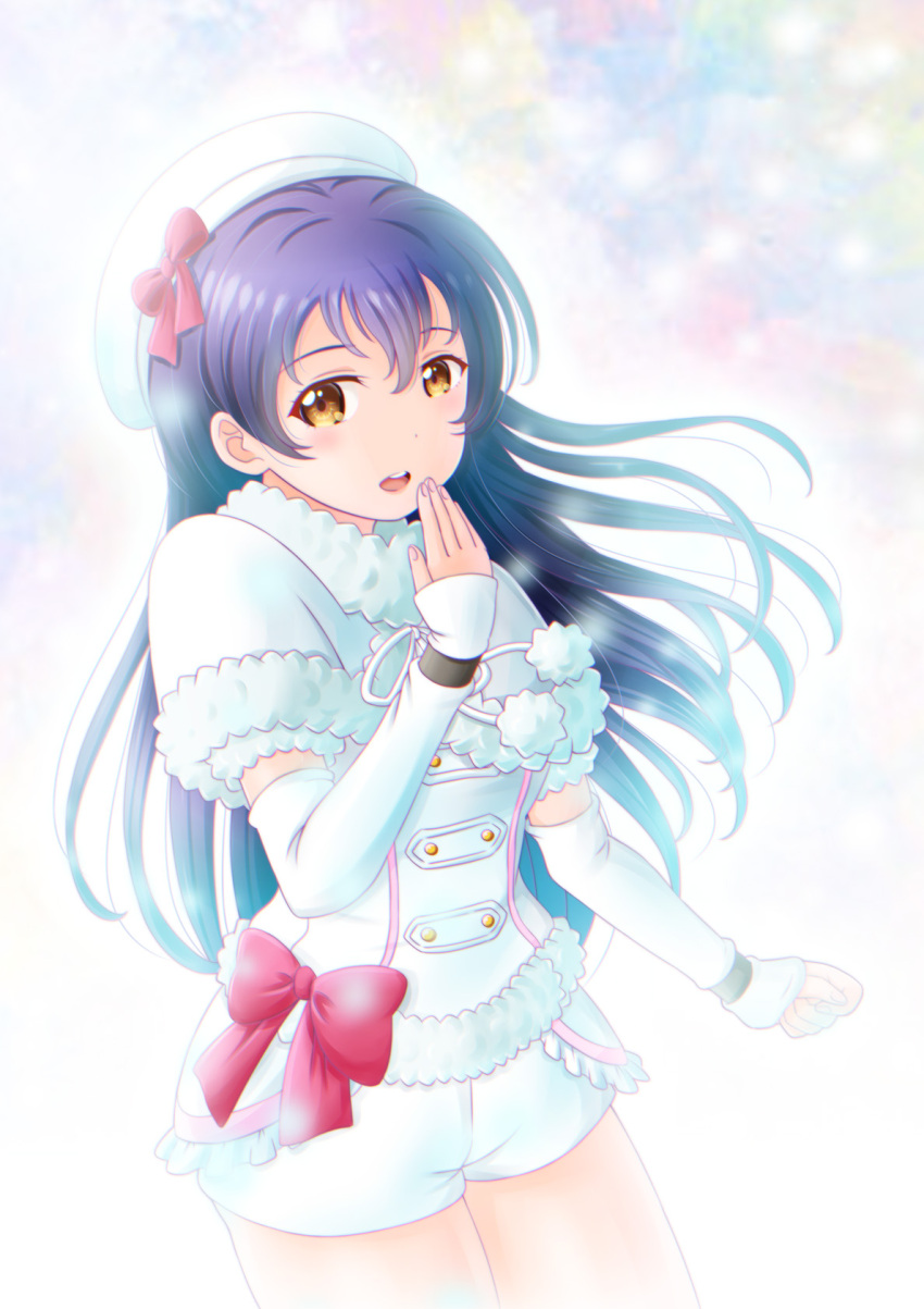 1girl bangs blue_hair blush cowboy_shot detached_sleeves eyebrows_visible_through_hair fur_trim hair_between_eyes hand_up hat highres long_hair looking_at_viewer love_live! love_live!_school_idol_project naato_(naht) open_mouth ribbon shorts simple_background smile snow_halation solo sonoda_umi yellow_eyes