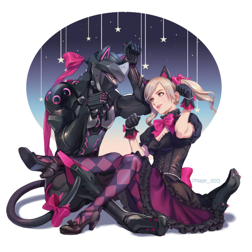 1boy 1girl alternate_costume animal_ears armor black_cat_d.va black_dress black_footwear black_gloves black_tail blonde_hair bow breast_cutout breasts cat_ears cat_tail checkered checkered_legwear cleavage commentary corset d.va_(overwatch) dress earrings full_body genji_(overwatch) gloves heart heart_earrings helmet high_heels highres jewelry light_brown_eyes lolita_fashion medium_breasts open_mouth overwatch pantyhose parted_lips paw_pose pink_bow pink_lips pink_ribbon puffy_short_sleeves puffy_sleeves ribbon sae_(revirth) short_sleeves simple_background sitting star tail tail_bow twintails two-tone_legwear violet_eyes white_background