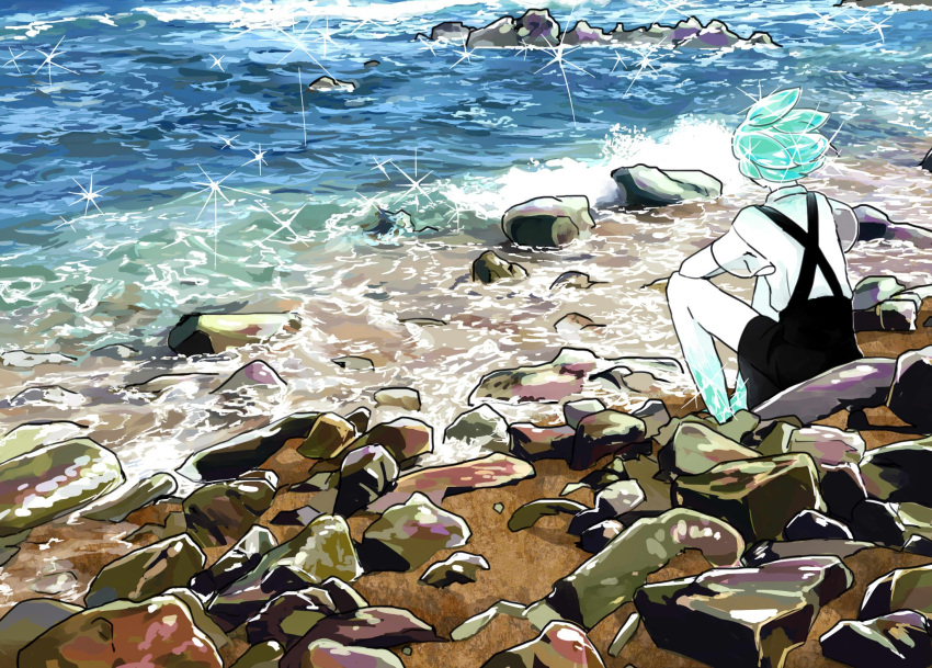 androgynous aqua_hair beach gem_uniform_(houseki_no_kuni) green_hair highres houseki_no_kuni ocean outdoors phosphophyllite scenery shore short_hair shorts solo sparkle stone suspenders tezo_(mokka_mk) water