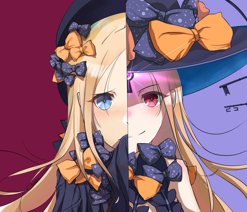 2girls abigail_williams_(fate/grand_order) absurdres artist_name bangs black_bow black_dress black_hat blonde_hair blue_eyes blush bow closed_mouth commentary_request dated dress dual_persona fate/grand_order fate_(series) glowing hair_bow hat highres key long_hair long_sleeves multiple_girls orange_bow parted_bangs polka_dot polka_dot_bow purple_background red_eyes revealing_clothes sleeves_past_fingers sleeves_past_wrists smile very_long_hair witch_hat